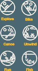 Explore, Bike, Canoe, Unwind, Run, Fish